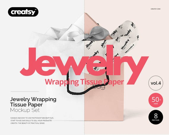 Jewelry Wrapping Tissue Paper Mockup Set Giftwrap Gift Bag Etsy