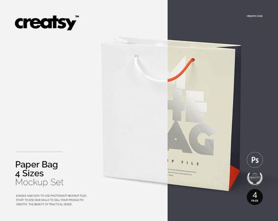 Paper Bag 4 Sizes Mockup Set Gift Bag Bifts Custom Bag | Etsy