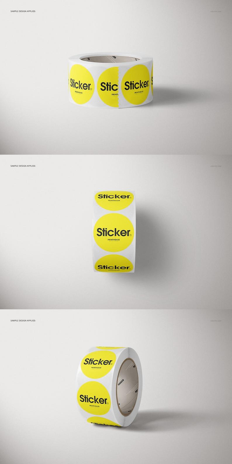 Round Roll Stickers Mockup Set