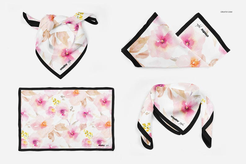 Silk Scarf Mockup Bundle, Neck Scarf, Mockup Scarf Set 2, Chiffon Fabric,  Women scarf, Woman Scarves, Neckwarmer, Template, Custom,