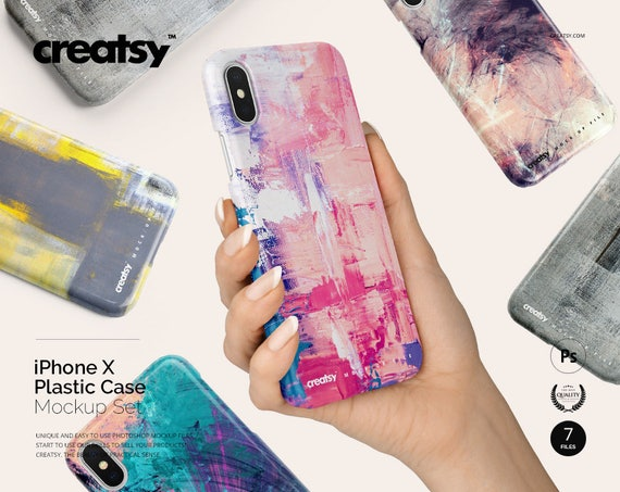 iPhone X Plastic Case Mockup Set, Plastic Full Warp Case Mockup Bundle, iPhone 10 Sublimation Case In Hand, Customize Classic, X Sublimation