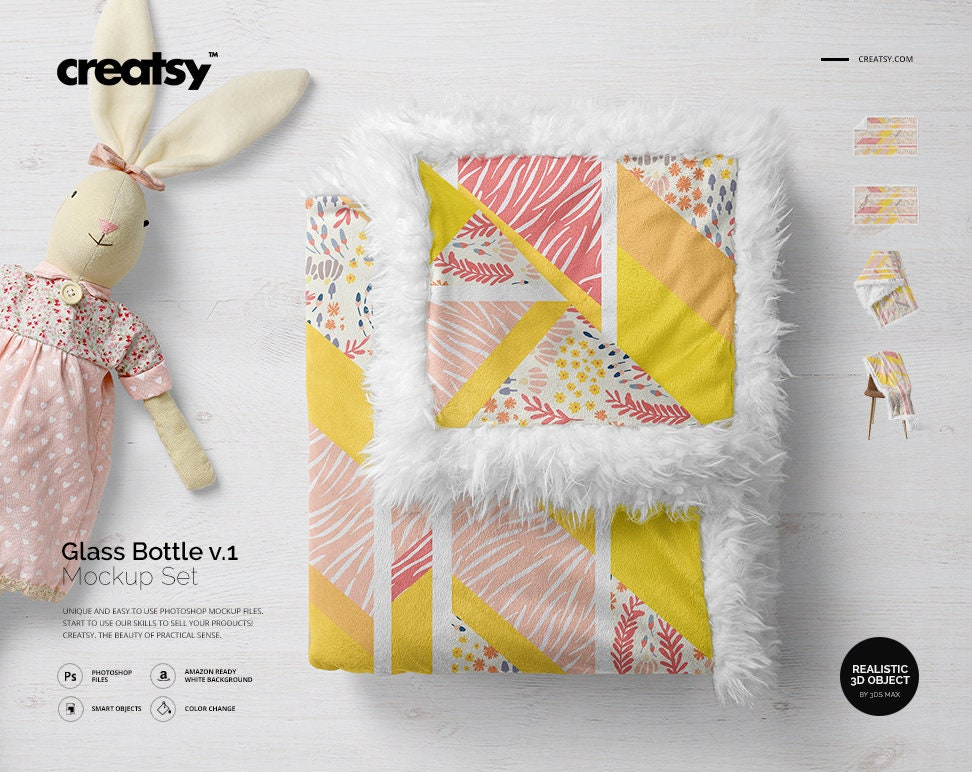 sherpa baby blanket mockup set blanket tempalte personalized