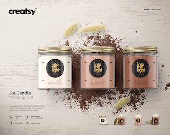 Jar Candle Mockup Set, Candle Mockup, Candle Template, Jar Candle Mockup, Personalized label