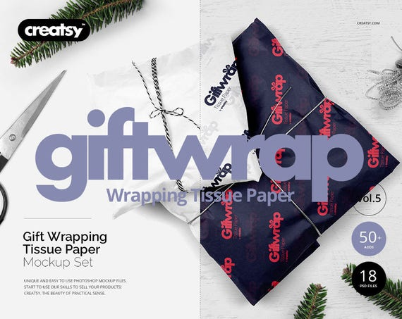 Gifts Wrapping Tissue Paper Mockup Set Custom Wrap Paper Etsy