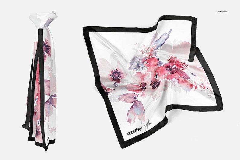 Silk Scarf Mockup Set, Mockup Scarf Template, Rolled Hem Silk Mockup,  Chiffon Fabric, Women scarf, Woman Scarves, Neckwarmer, Mockup Bundle