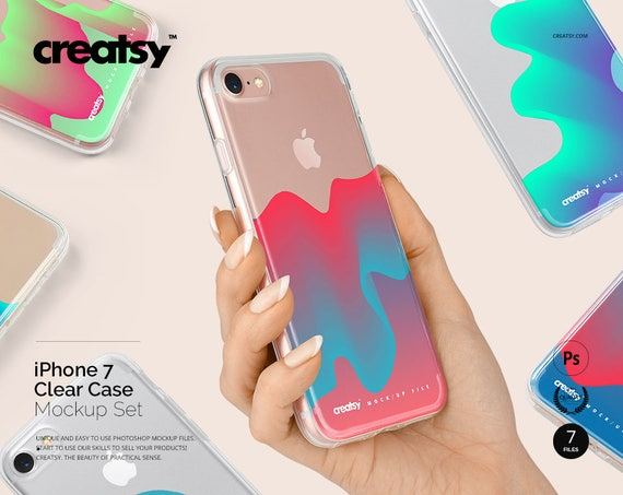 Iphone 7 Clear Case Mockup Set Clear Iphone Case In Hand Etsy