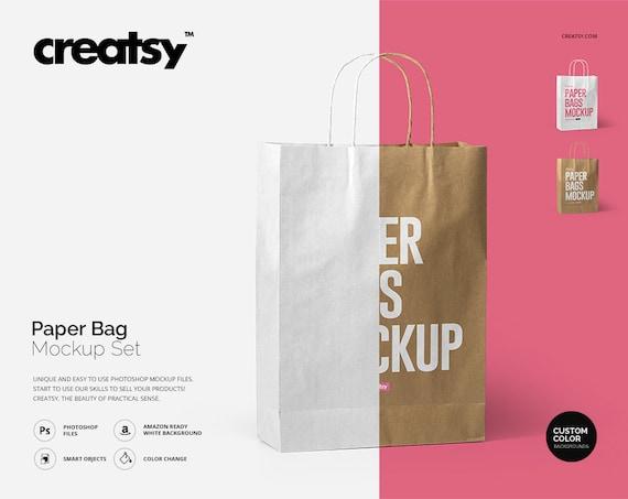 paper bag mockup set paper bag template craft paper kraft etsy