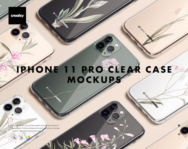 iPhone 11 Pro Clear Case Mockup Set image 0