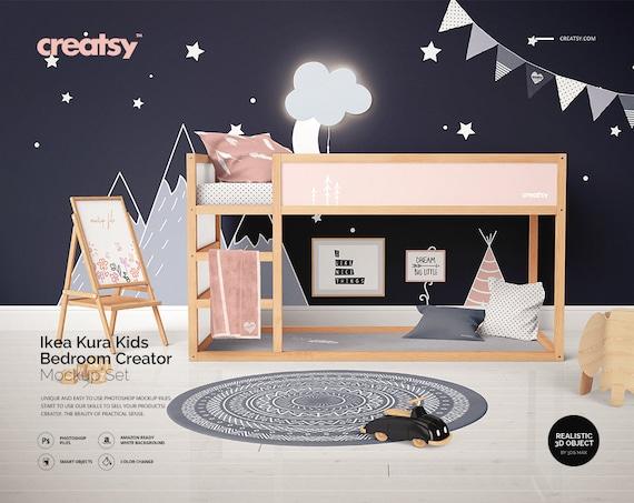 Ikea Kura Kids Bedroom Creator Mockup Set Decals For Kura Bed Etsy