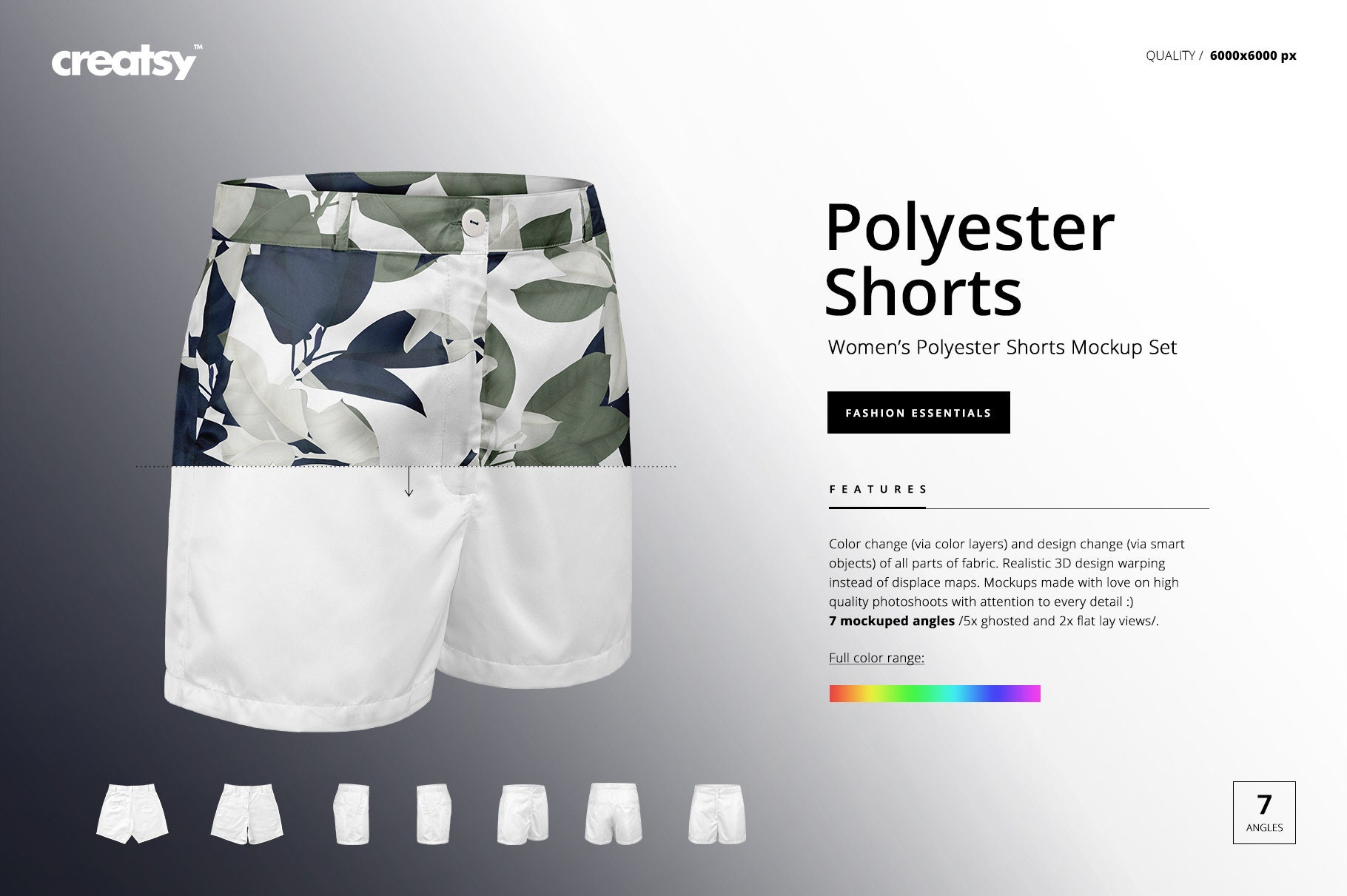 17379f4436bf7 Womens Polyester Shorts Mockup Set Shorts Template Ghosted | Etsy