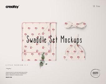 Swaddle Set Mockup Set, Blanket Mockup, Baby Hat Mockup, Baby Wrap Set, Baby Headband Temaplte, Custom Baby Set, Personalized Baby Wraps PSD