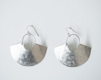 Earring Silver - Goddess Shield Mini / Textured - ENARMOURED