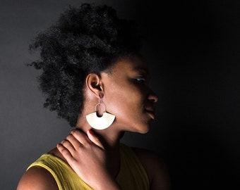 Earring Brass - Goddess Shield Large - ENARMOURED
