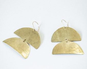 Earring Brass - CataPillar Mini - ENARMOURED