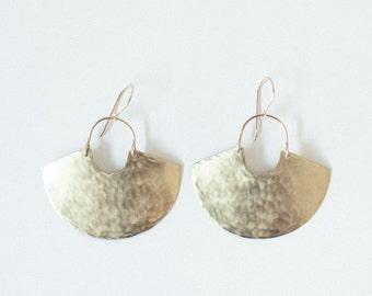 Earring Brass - Goddess Shield Mini / Textured - ENARMOURED