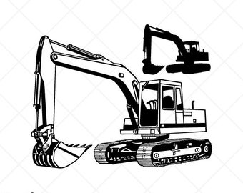 Construction Tractor Dozer Excavator Mixer Dump Truck SVG DXF