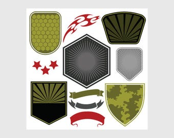 military design elements clipart vector clip art etsy