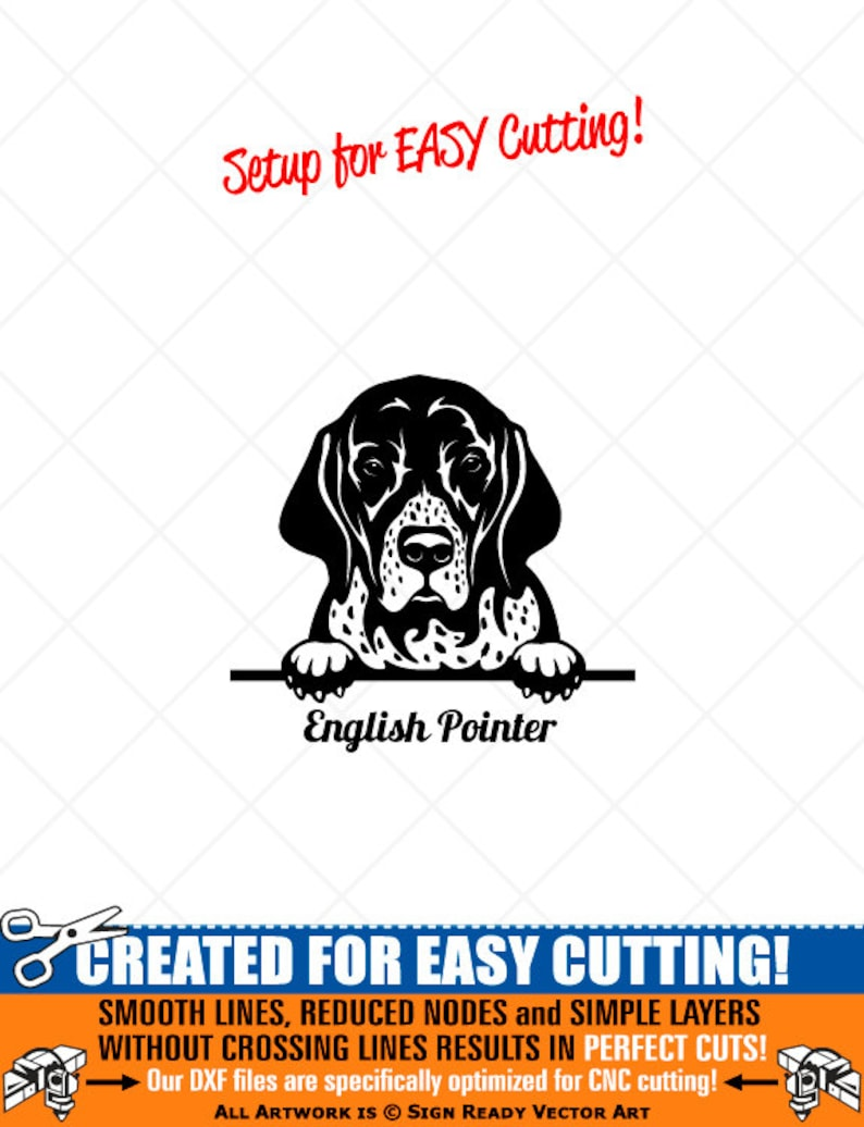 Svg Png Pdf Dxf Peeking English Pointer Dog Clipart Vector Clip Art Graphics Download Cut Ready