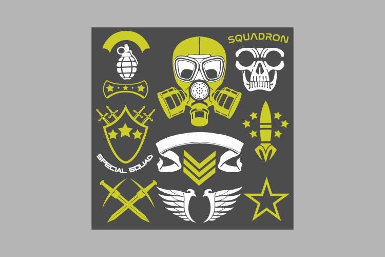 Military Design Element Symbols Clipart Vector Clip Art Etsy
