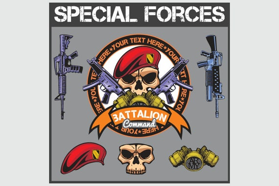 MILITARY Special Forces Patch Set Clipart Vector Clip Art
