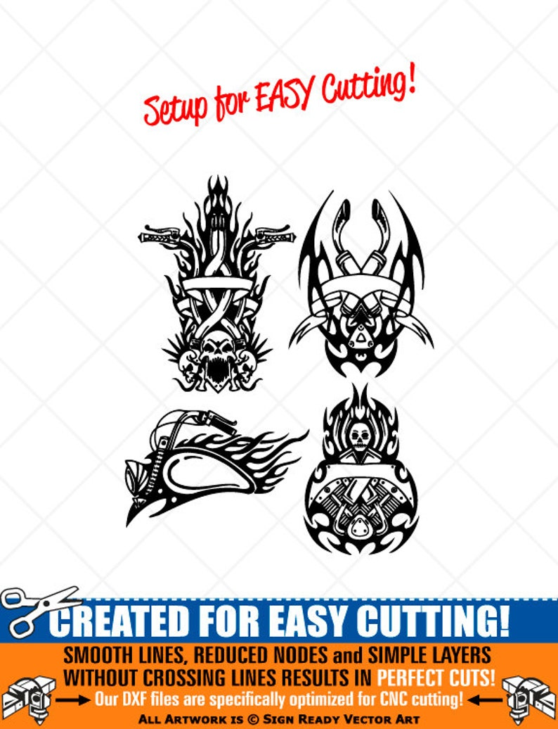 svg,dxf Tribal Flames Motorcycle Biker Clipart-Vector Clip Art Graphics-Digital Download-Cut Ready Files-CNC-Logo-Vinyl Sign Design-eps ai