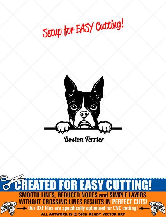 Peeking Boston Terrier Dog Clipart Vector Clip Art Graphics Etsy