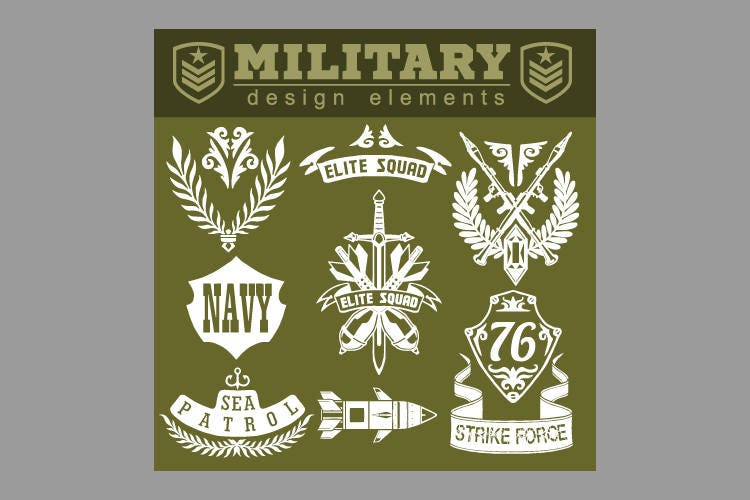 Navy Military Symbols Design Elements Clipart Vector Clip Art Etsy