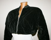 RARE VINTAGE 85 39 short Velvet jacket Made in Italy quilted velvet Luxury Bomber model Jacket Black Zipperyoung fashion wool