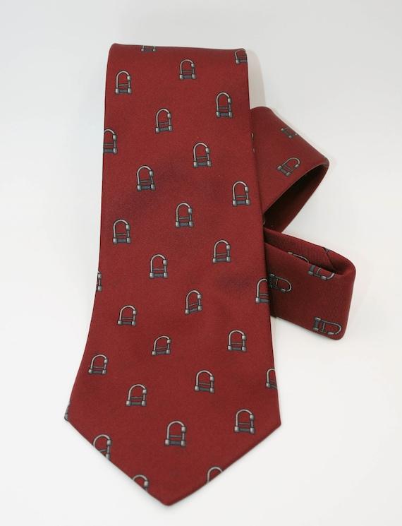 Vintage Cherry Red Leather Skinny Necktie  Leather Narrow Tie 1980s