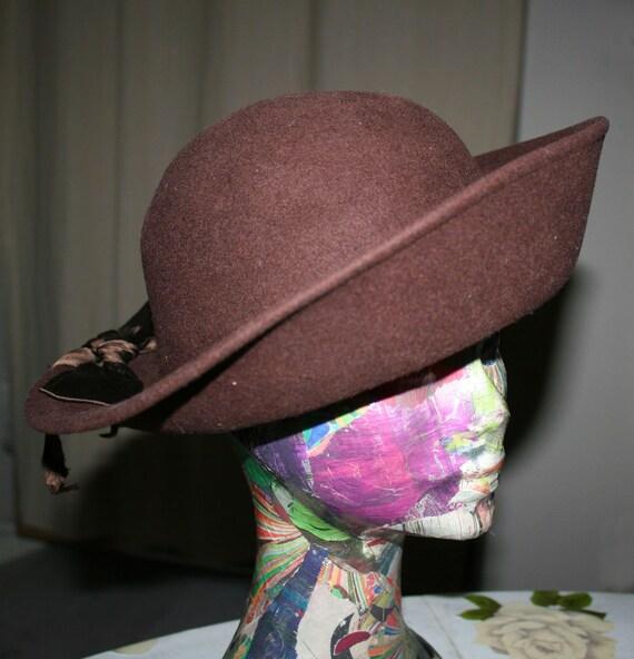 Brown felt hat, thermal wool felt Hat, vintage hat