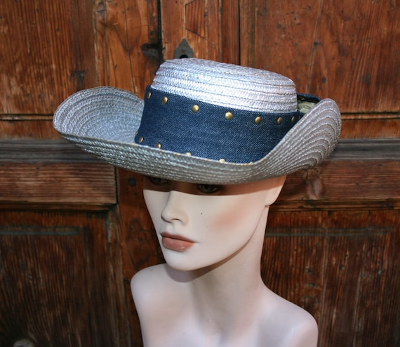 Vintage Cow Boy Italian Straw Women's Summer Hat/
