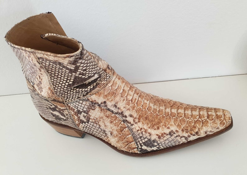 9dad79f60fe RARE!! Boots men short vintage python/ Leather Cowboy BOOTS/ Western  /Rodeo/Country men/Made in Italy/