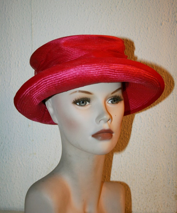 Vintage Italian RED Straw Hat , Women's Summer Ha… - image 5
