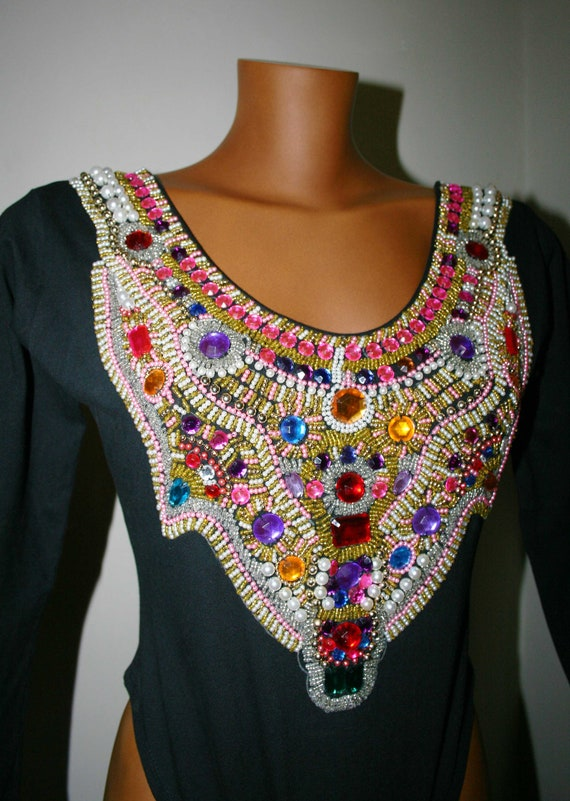 Funky Jewel Beaded Art Deco Body Bright Embellished Designer Etsy