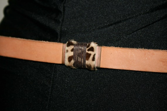 BELT LEATHER WOMAN/Leather vintage 80s/ Brown lea… - image 4