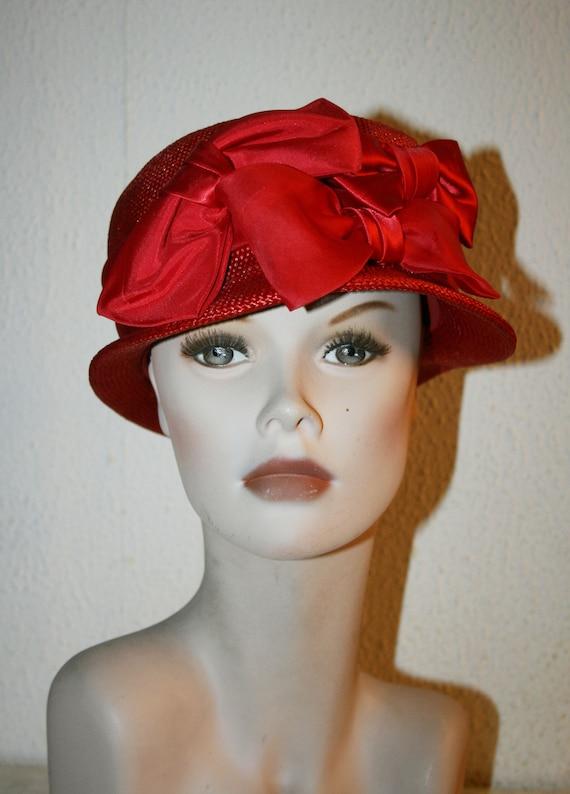 Vintage Italian RED Straw Hat , Women's Summer Ha… - image 1