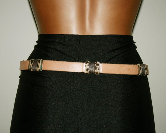 BELT LEATHER WOMAN/Leather vintage 80s/ Brown lea… - image 3