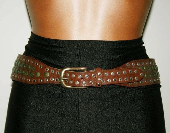 VINTAGE 80s Brown LEATHER BELT/ Studs belt/Leathe… - image 1