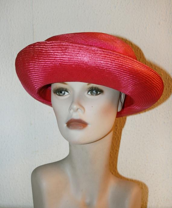Vintage Italian RED Straw Hat , Women's Summer Ha… - image 4