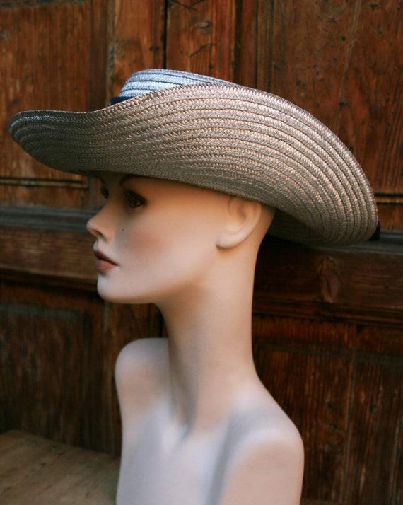 Vintage Cow Boy Italian Straw Women's Summer Hat/… - image 4
