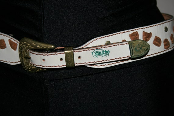 VINTAGE 80s LEATHER white BELT/ Studs belt/Brown … - image 3
