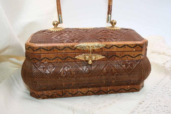 Vintage EVENING STRAW BAG/ Straw Woven Box / Ethni