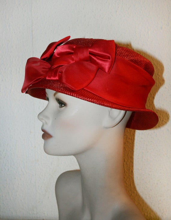 Vintage Italian RED Straw Hat , Women's Summer Ha… - image 2