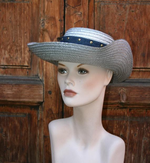 Vintage Cow Boy Italian Straw Women's Summer Hat/… - image 2