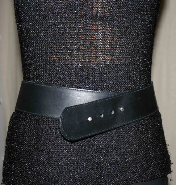 BELT LEATHER WOMAN/Leather vintage 80s / Black le… - image 5