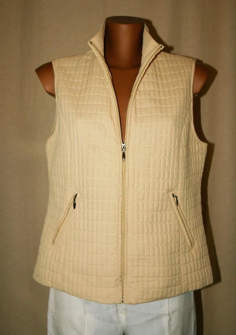 Vintage 90s sleeveless down jacket zipcream color Jacket spring jacket