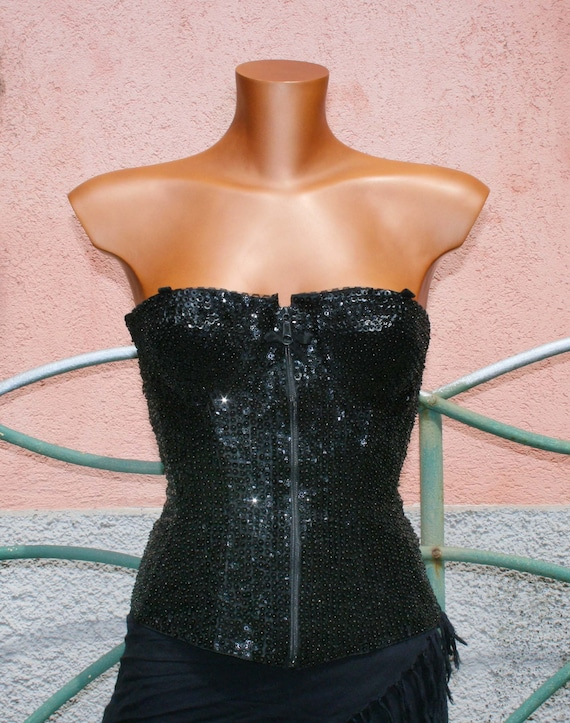 VINTAGE SEXY 85s Black Beads corset TOP /luxury co