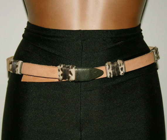 BELT LEATHER WOMAN/Leather vintage 80s/ Brown leat