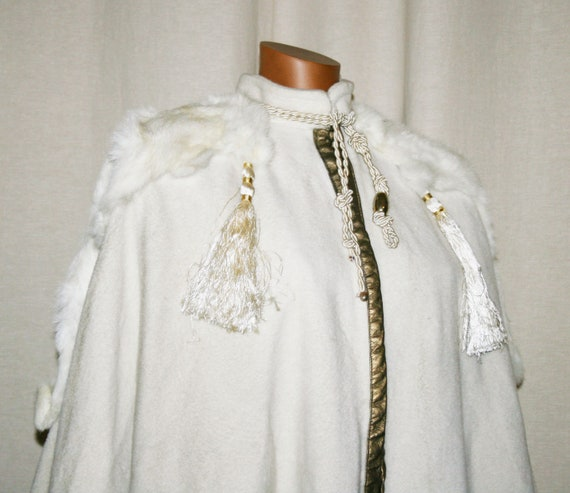 RARE !! VINTAGE 80 'cloak with fur /Made in Italy/