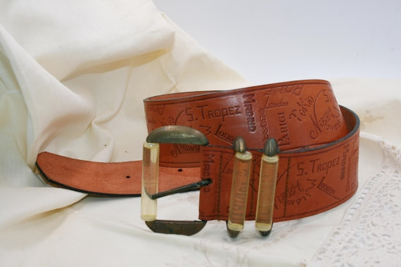 BELT LEATHER WOMAN/Leather vintage/ brown leather/